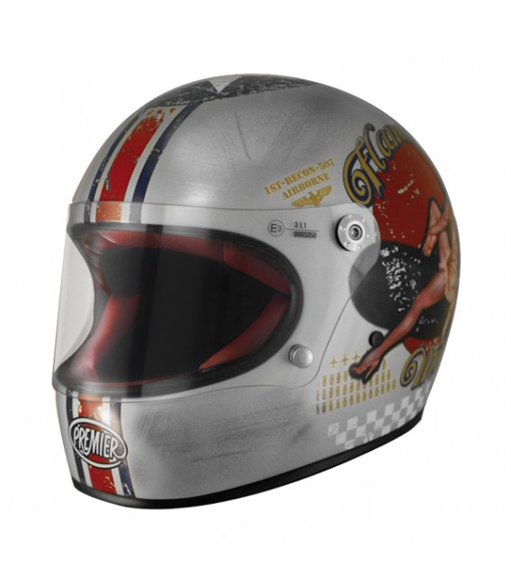 Casco Integral Retro Premier Trophy Pin Up Old Style Silver