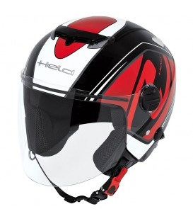 Casco Jet Held Top Spot Negro Rojo