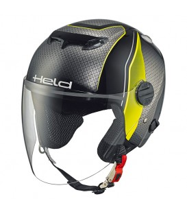 Casco Jet Held Top Spot Negro Fluor Diseño