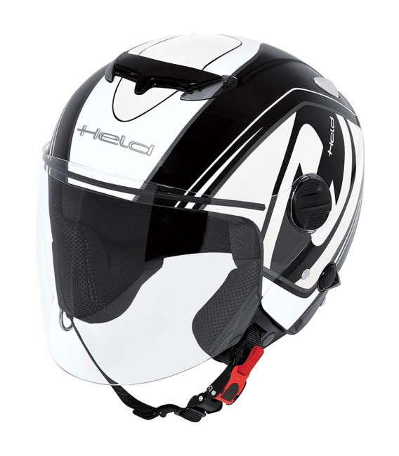 Casco Jet Held Top Spot Negro Blanco