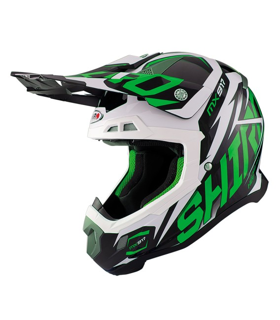 Shiro MX-917 Thunder Green Fluor Off Road Helmet