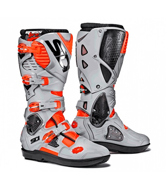 Motocross Boots Sidi Crossfire 3 SRS Fluo Red GreyBlue White